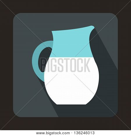 Pitcher of milk icon in flat style on a gray background
