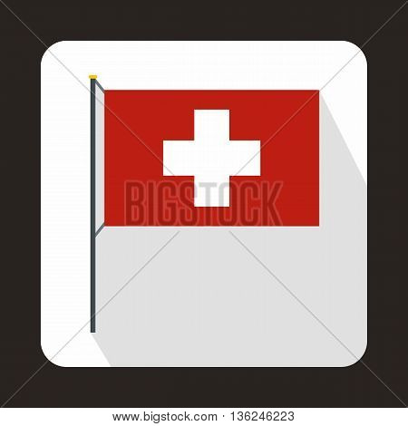 Switzerland flag icon in flat style on a white background