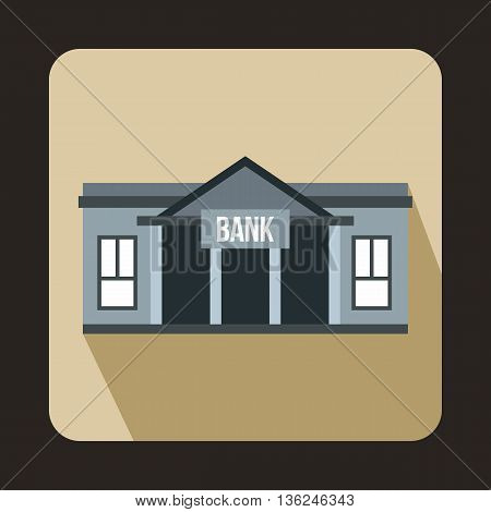 Bank building icon in flat style on a beige background