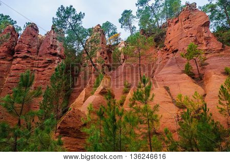 Reddish Rock Formations In Roussillon, Provence, France