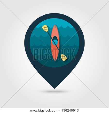 Kayak pin map icon. Canoe vector. Beach Map pointer. Summer Map markers. Summertime. Vacation eps 10