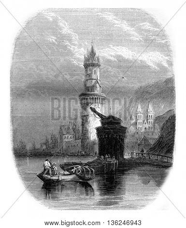 Audernach of view on the Rhine, vintage engraved illustration. Magasin Pittoresque 1843.