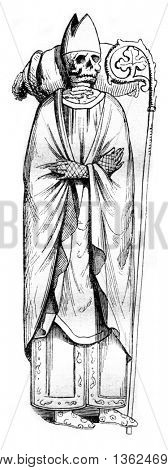 Abbots of Saint Alexandre Lenoir, vintage engraved illustration. Magasin Pittoresque 1843.