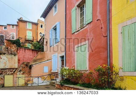 Colorful Houses In Roussillon, Provence, France