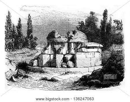 Etruscan hypogeum near Cortona, known for speulere Pythagoras, vintage engraved illustration. Magasin Pittoresque 1843.