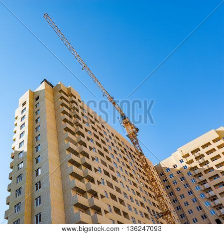 Exterior of the apartment buildings under construction.