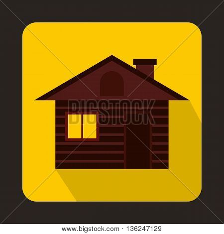 Wooden log house icon in flat style on a yellow background