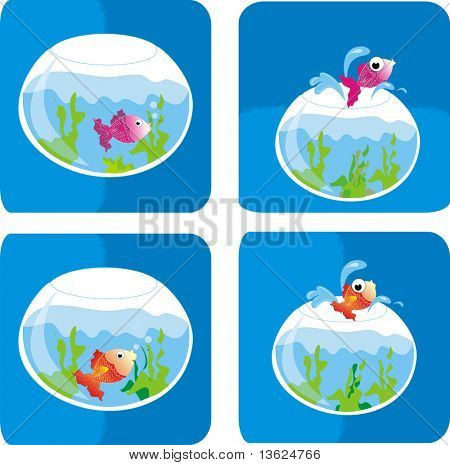 colourful illustration of a goldfish bowl and a fish