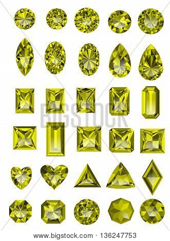 Set of realistic yellow topaz jewels isolated on white background with different cuts. Princess cut jewel. Round cut jewel. Emerald cut jewel. Oval cut jewel. Pear cut jewel . Heart cut jewel.