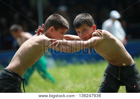 BURSA,TURKEY-MAY 13, 2012: Unidentified wrestlers participate in the annual oil wrestling championship on May 13,2012 in Bursa.Oil wrestling is considered as an ancestral sport in Turkey.