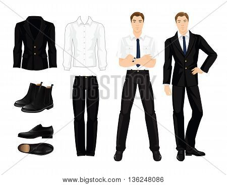 Vector illustration of corporate dress code. Office uniform. Clothes for business man. Business man or professor in official black formal suit. Base wardrobe. Pair of black shoes.