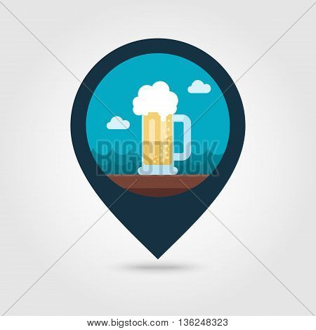 Beer Mug vector pin map icon. Beach Map pointer. Summer Map markers. Summertime. Vacation eps 10