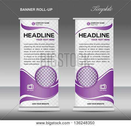 Purple and white Roll up banner stand template vintage banner corporate vector template