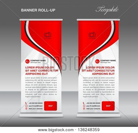 Red and White Roll up banner stand template advertisement template for business