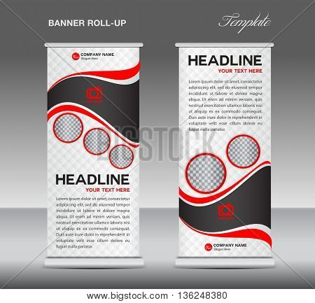 Red and white Roll up banner stand template vintage banner corporate vector template
