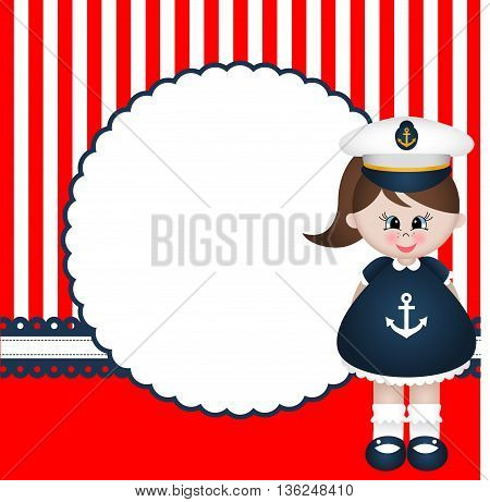 Scalable vectorial image representing a sailor girl background.