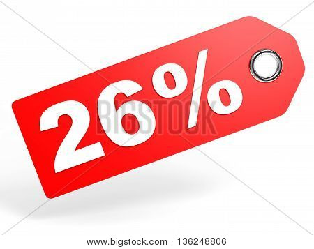 26 Percent Red Discount Tag On White Background.
