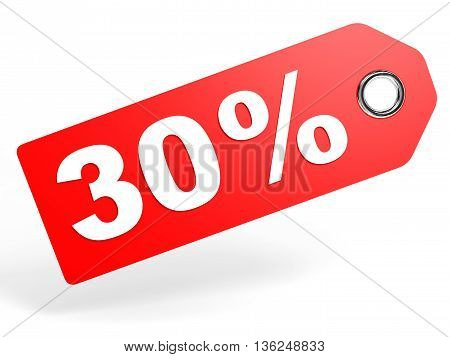30 Percent Red Discount Tag On White Background.