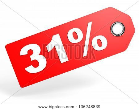 31 Percent Red Discount Tag On White Background.
