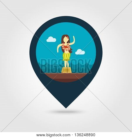 Hula Dancer Statuette vector pin map icon. Map pointer. Summer Map markers. Summertime. Vacation eps 10