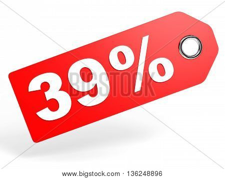 39 Percent Red Discount Tag On White Background.