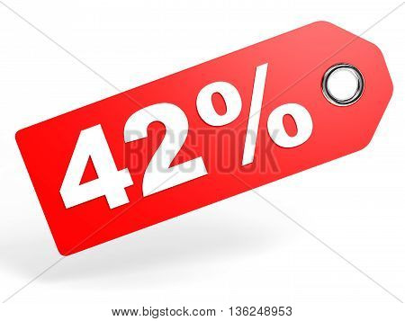 42 Percent Red Discount Tag On White Background.