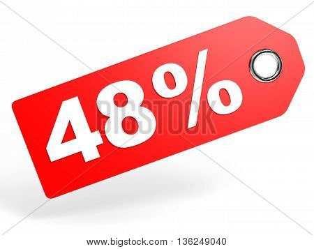 48 Percent Red Discount Tag On White Background.