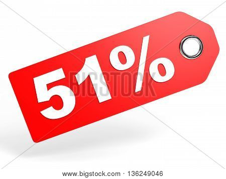 51 Percent Red Discount Tag On White Background.