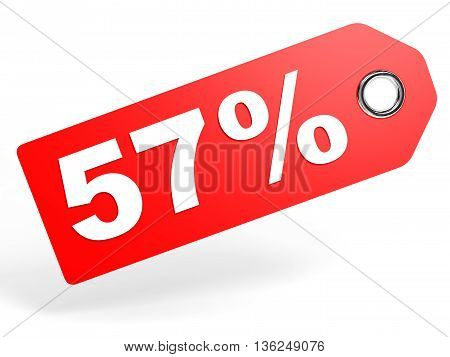57 Percent Red Discount Tag On White Background.