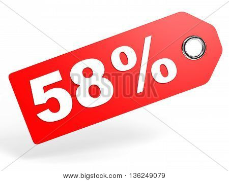 58 Percent Red Discount Tag On White Background.