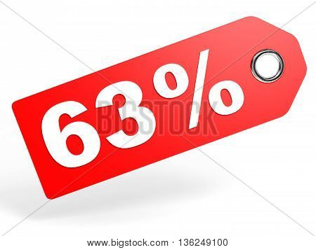 63 Percent Red Discount Tag On White Background.
