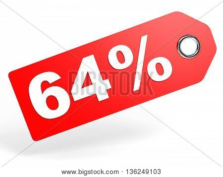 64 Percent Red Discount Tag On White Background.