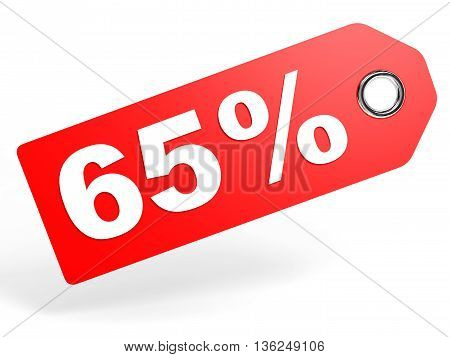 65 Percent Red Discount Tag On White Background.