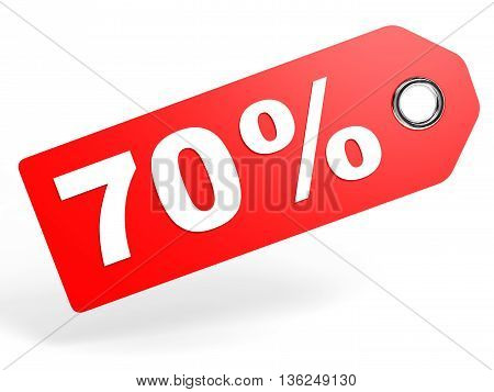 70 Percent Red Discount Tag On White Background.