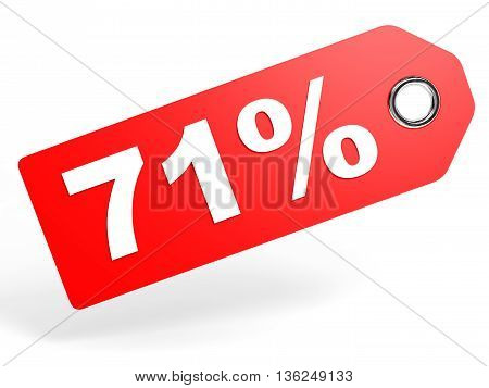 71 Percent Red Discount Tag On White Background.