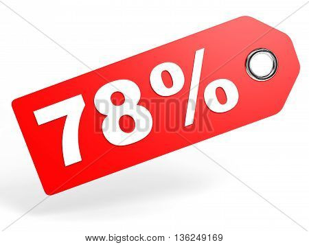 78 Percent Red Discount Tag On White Background.