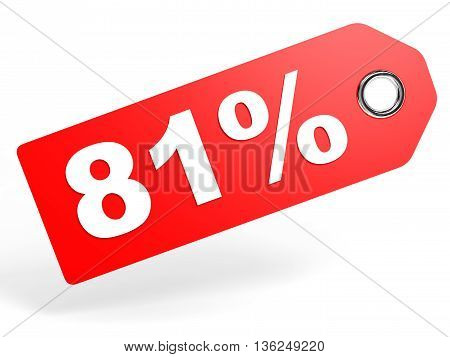81 Percent Red Discount Tag On White Background.