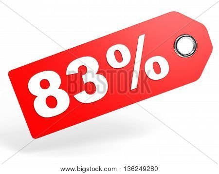 83 Percent Red Discount Tag On White Background.