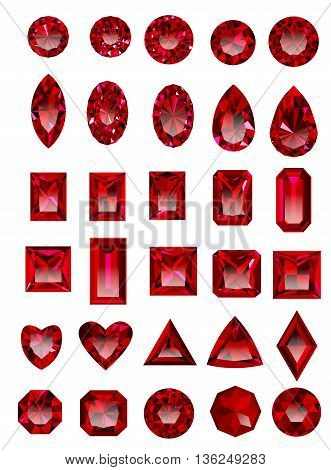 Set of red rubies isolated on white background. Set of realistic jewels. Colorful gemstones. Jewel cuts. Jewel icon. Jewel vector. Jewel sign. Jewel art. Jewel logo. Jewel web icon. Jewel EPS.