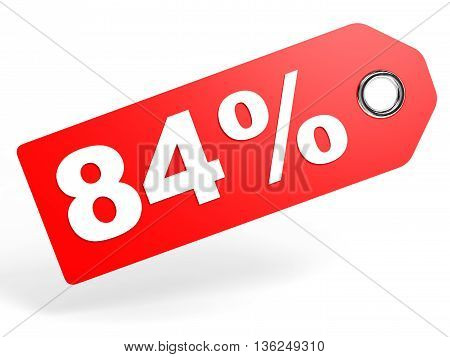 84 Percent Red Discount Tag On White Background.