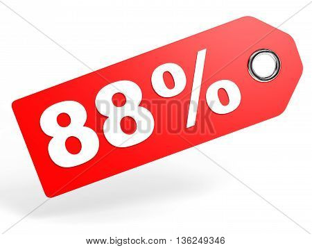 88 Percent Red Discount Tag On White Background.