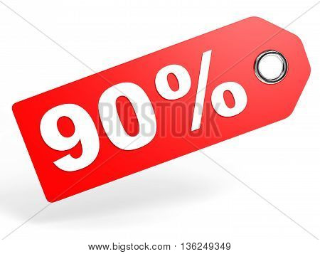 90 Percent Red Discount Tag On White Background.