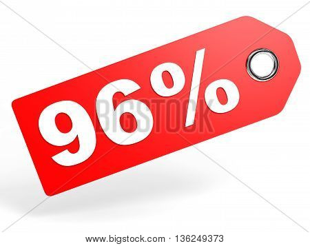 96 Percent Red Discount Tag On White Background.