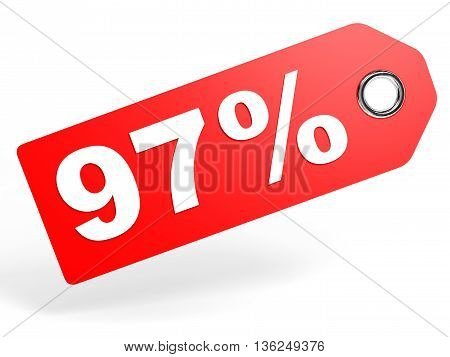 97 Percent Red Discount Tag On White Background.