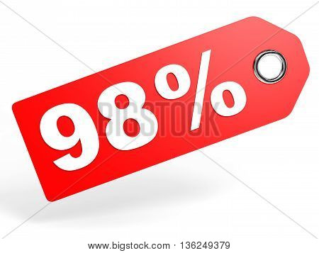 98 Percent Red Discount Tag On White Background.