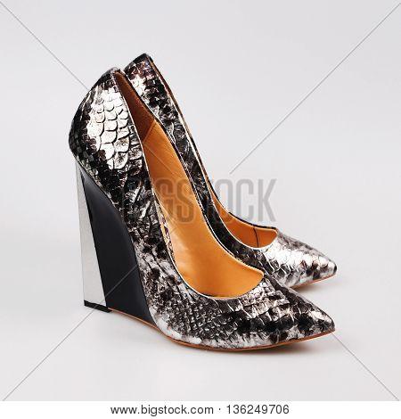 silver glamorous women high heels shoe isolated