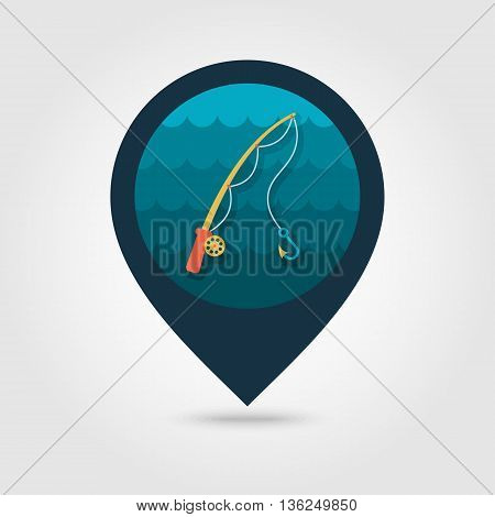 Fishing Rod vector icon. pin map icon. Beach Map pointer. Summer Map markers. Summertime. Vacation eps 10
