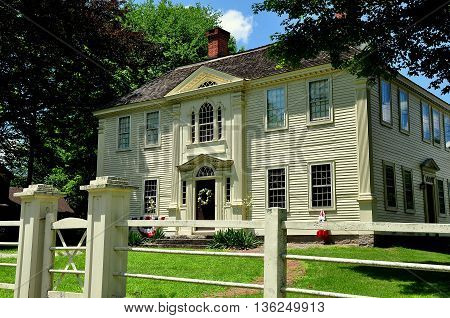 Canterbury Connecticut - July 11 2015: Handsome Georgian 18th century Prudence Crandall House where a school for Negro girls was established in 1833