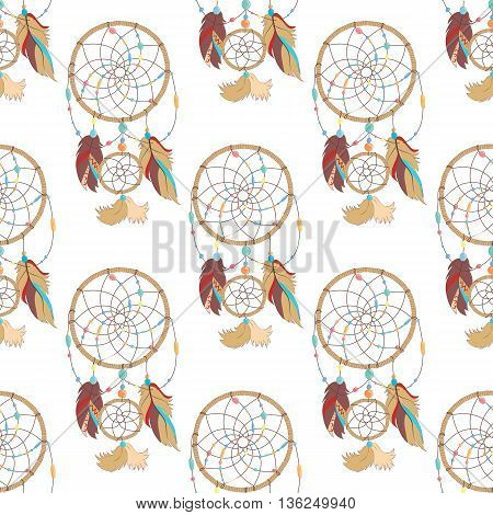 Seamless pattern of mysterious and magical indian ojibwe dreamcatcher. Tribal paganism totem symbol for superstition about sleep. Traditional american symbol for dream protection made of bird quills and feathers, woven web or net