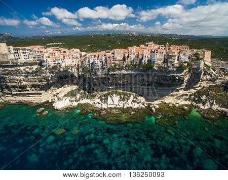 Aerial view the Old Town of Bonifacio, the limestone cliff, South Coast of Corsica Island, France